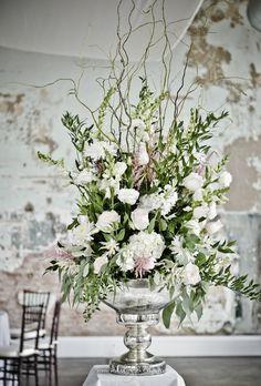 Food table Arrangement - I just love the silver pedestal bowl we found! Wedding Arrangements, Table Arrangements, Table Centerpieces, Floral Arrangements, Table Decorations, Centrepieces, Large Flowers, White Flowers, Floral Wedding