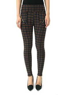 2e3188ffda7a3 Plaid Leggings Fleece Lined with Zipper Large X Large Dark green brown >>>  Click
