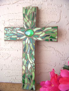 Small Wall Cross Stained Glass Mosaic Cross by bluewaveglass