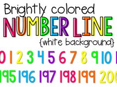Classroom Number Line  This number line comes in easy-to-assemble strips - just print, laminate, cut and place end-to-end on your classroom wall! The bright colors are engaging and your students will love using this number line to demonstrate number order, skip count, find number patterns, strengthen mental math and so much more.  *Is most durable when printed on card stock.