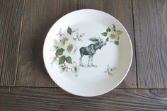 Awesome Vintage Plate with Moose decal ?? ChicandCheapDesigns & Rustic wooden moose circle paper plates | Moose
