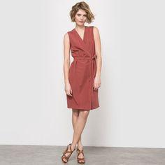 Sukienka portfelowa bez rękawów z tkaniny z nadrukiem-LAURA CLEMENT LAURA CLEMENT