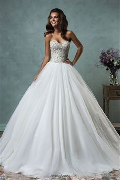 #Wedding Dresses & Bridal Gowns. 2016 Enchanting Beaded Lace & Tulle Ball Gown with a Strapless Sweetheart Neckline, Crystal Beaded Lace Fitted & Boned Bodice with Lightly Padded Bust Cups, Gathered Tulle Ball Gown Skirt, Chapel Train, Embellished Back with Covered Buttons to Hem. #fairytaleweddingdress #beadedweddingdress #crystals #straplessweddingdress #laceweddingdress #ballgown #tulle #beautifulbride #bridalgown #2016weddingdress #sayyestothedress #dreamwedding #gorgeous #princess…