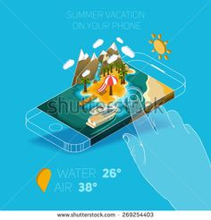 Flat vector Isometric composition on screen phone. Summer vacation on the island. Paradise with palm trees, a waterfall and a yacht. Pictured 3d isometric concept. - stock vector