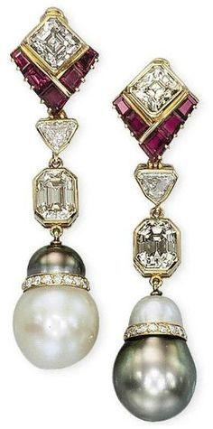 Harry Winston Pearl, Diamond and Ruby Earrings - Christie's