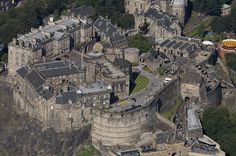 Aerial view of the imposing Edinburgh Castle,