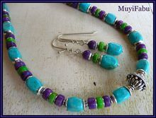 Blue, Purple and Green Turquoise Necklace.