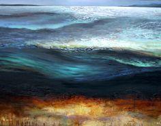 artist Irena Kononova combines oil paint, sand, and marble dust on canvas to create her textured landscape paintings