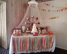 Project Nursery party spotlight - Vintage Circus...love the ferris wheel and the marquee (shown in other pics) is amazing!  O to the MG!