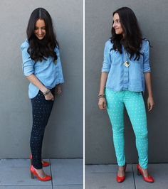 Too cute! Use a pencil eraser and some fabric paint or bleach to give your old jeans a polka-dot pick-me-up