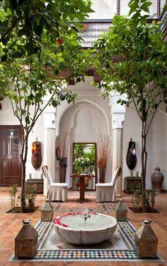 Lovely courtyard at Hotel Riad, Marrakech. Moroccan Design, Moroccan Decor, Moroccan Style, Moroccan Lanterns, Moroccan Bedroom, Patio Design, Exterior Design, Interior And Exterior, House Design