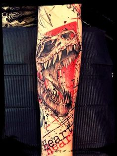 Trash polka tattoo dino skull
