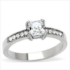 Princess cut 1.25ct cz Engagement Ring 316 Stainless Steel Cubic Zirconia