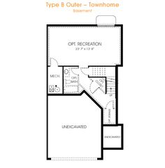 The Type B Outer floorplan offers 9 foot ceilings, an unfinished basement and a two car garage. It offers 3 bedrooms and 2.5 bathrooms with 2,330 sq ft.