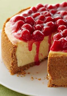 """I Love Cheesecake. Original pinner """"Our Best Cheesecake -- Not only is this our best cheesecake recipe--a rich, creamy, cherry-topped showstopper, it's also one of the easiest desserts to make! 13 Desserts, Easy To Make Desserts, Food To Make, Dessert Recipes, Holiday Desserts, Cookie Recipes, Dinner Recipes, Cheesecake Day, Strawberry Cheesecake Recipes"""