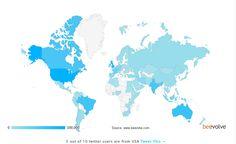 Distribuzione geografica mondiale di Twitter