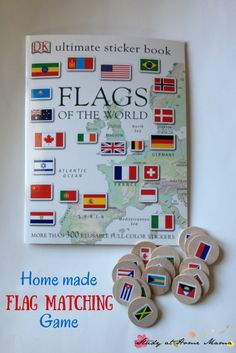 Montessori-inspired Homemade Flag Matching Game $5 flag sticker book + $5 set of wooden tiles from etsy