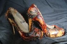 Shoes made of human skin, just like the bag products of Auschwitz.