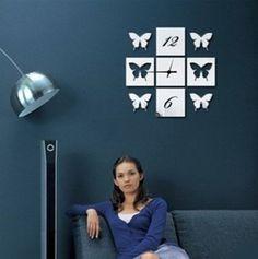 4 Squares + 4 Butterflies  Art Mordern Luxury DIY Removable 3D Crystal Mirror Wall Clock Wall Sticker Living Room Bedroom Decor