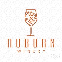 Logo For Sale: Class, elegance and style is depicted in this sophisticated logo of a wine glass with a vineyard hillside and hanging grapes contained within. #winebrands