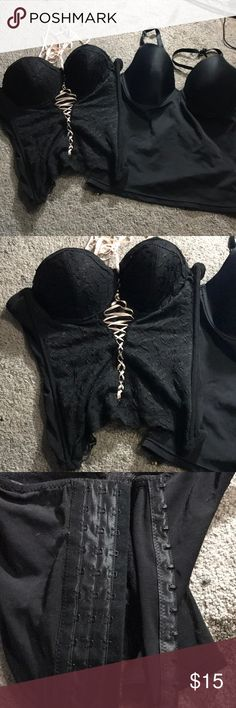 Sexy black crop bra tops. 34B & 36B corset boned Native intimates 34B Black sexy corset bra crop top. 3 rows of hooks in back for closure and pink adjustable ribbon in front to cinch in figure to perfection. Excellent condition, and maidenform flexees polyester satin blend 36b underwire bra crop top. Native Intimates Intimates & Sleepwear