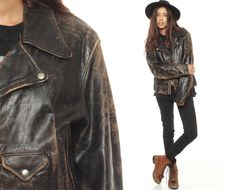 Distressed Leather Jacket Black Leather Biker 70s by ShopExile