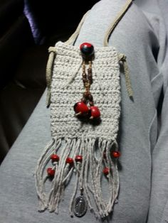 Medicine pouch ( crochet, seeds, leather ).