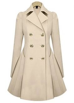 Autumn Essential Turndown Collar Button Closure Beige Trench Coat