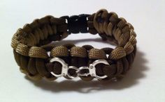 """POLICE PARACORD BRACELET DEPUTY SHERIFF HANDCUFF CHARM  550 CORD BROWN TAN 7.5"""" #PARACORD 10% donation to wounded warrior project. Support our troops!!!"""
