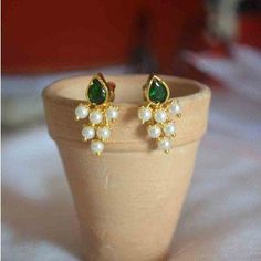 Buy Handcrafted Earrings, Necklaces, Pendants, Anklets, Bangles & Bracelets Online Price from Aadyaa. Shop from a wide collection of designer jewellery. Jewelry Design Earrings, Gold Earrings Designs, Gold Jewellery Design, Gemstone Jewelry, Necklace Designs, Jewelry Shop, Pendant Jewelry, Jewelry Making, Real Gold Jewelry