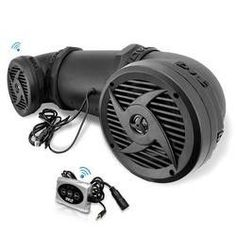 500 Watts ATV/UTV/Jet Ski/Snowmobile Waterproof Powered Sound System w/ 6.5'' 2-way Stereo Marine Speakers & Built in Leather Case suitable for MP3, Mobile Phone, & Aux 3.5mm Devices & Bluetooth Wireless Streaming