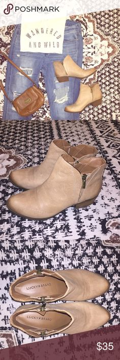 Taupe Lucky Brand Ankle Cowboy Boots Worn once, Great Condition Lucky Brand Shoes Ankle Boots & Booties