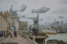 Punking The Past: The Steampunk Aesthetic Of Victorian London In Superb Paintings Of Vadim Voitekhovitch Steampunk Ship, Steampunk Kunst, Gothic Steampunk, Steampunk Clothing, Steampunk Fashion, Concept Ships, Concept Art, Victorian London, Victorian Gothic