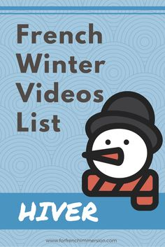 French Winter Videos List - For French Immersion Looking for French winter videos for your classroom? Well, here it is! Your students will love these kids videos in French! Learning French For Kids, Ways Of Learning, Learn French Fast, How To Speak French, French Teaching Resources, Teaching French, Learning Resources, Teaching Ideas, French Worksheets