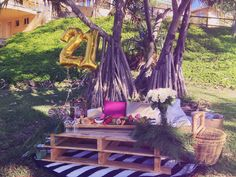 A 21st Birthday Breakfast picnic for a lovely young lady. Styled by Deep Love Picnics.
