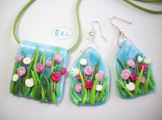 Vibrant blooming meadow, spring flowers, pendant & earrings, air dry clay, cold porcelain,