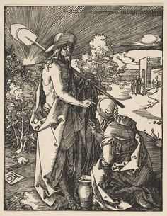 """""""Christ Appearing to Mary Magdalen, from The Small Passion"""" Artist: Albrecht Dürer (German, Nuremberg 1471–1528 Nuremberg) Date: ca. 1510 Medium: Woodcut Dimensions: sheet: 5 x 3 7/8 in. (12.7 x 9.8 cm) Classification: Prints"""