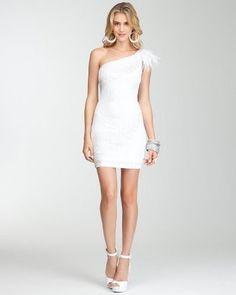 ShopStyle: One Shoulder Sequin Feather Dress - bebeBLACK
