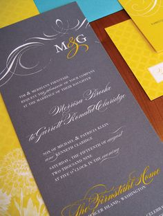 Yellow And Gray Wedding Invitations.