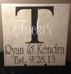 Personalized 12x12 Wedding, Anniversary or New Home Family Tile on Etsy, $20.00