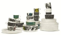 The Marimekko Siirtolapuutarha & Räsymatto dinnerware line is a cleverly detailed tableware collection by Marimekko that takes the viewer through a tale of country life in an urban setting. Marimekko, Scandinavia Design, Coffee With Friends, Kitchenware, Tableware, Good Company, Decoration, Geometric Shapes, A Table