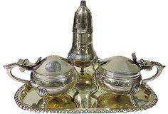 Silverplate Condiment Kit, 5 Pcs circa 19th century