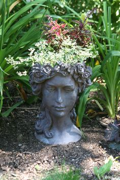 Greek goddess with lovely 'hair' of euphorbia combined with coleus Turtle Rock, Front Gardens, Garden Sculpture, Morning Sun, Outdoor Decor, Greek, Hair, Home Decor, Charms