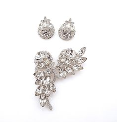 Eisenberg Ice Clear Rhinestone Set - Demi Parure - Brooch Pin and Matching Clip on Earrings - Designer - Bridal Jewelry - Wedding # 4353 by WatchandWares on Etsy