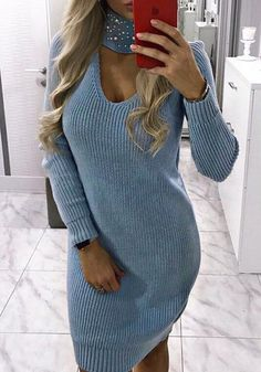 Available Sizes : S/M/L Bust(cm) : Length(cm) : Sleeve Length(cm) : Type : Slim Color : Blue Decoration : Pearl Material : Knit Collar : Collarless Pattern : Plain Sleeve Length : Long Sleeve Winter Outfits, Casual Outfits, Fashion Outfits, Womens Fashion, Fashion Tips, Blue Sweaters, Pullover Sweaters, Blue Pearl, Jumper Dress