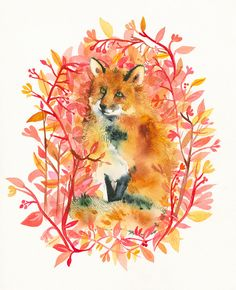 September Fox Limited Edition Archival Fox Art von amberalexander, $35.00