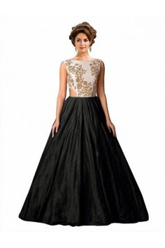 Black Semi Stitched Tat Silk Gown Silk Gown, Satin Gown, Ethinic Wear, Gown Party Wear, Ethnic Gown, Gowns Online, Prom Dresses, Formal Dresses, Designing Women