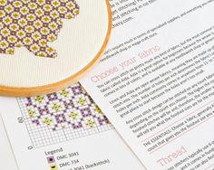 Cross stitch pattern PDF  Cute bunny in purple от RedGateStitchery
