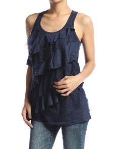 Asymmetric Tiered RUFFLE TANK TOP Casual Sleeveless Racerback Tee Shirts