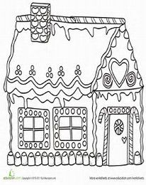 colouring page Gingerbread house Holidays Pinterest